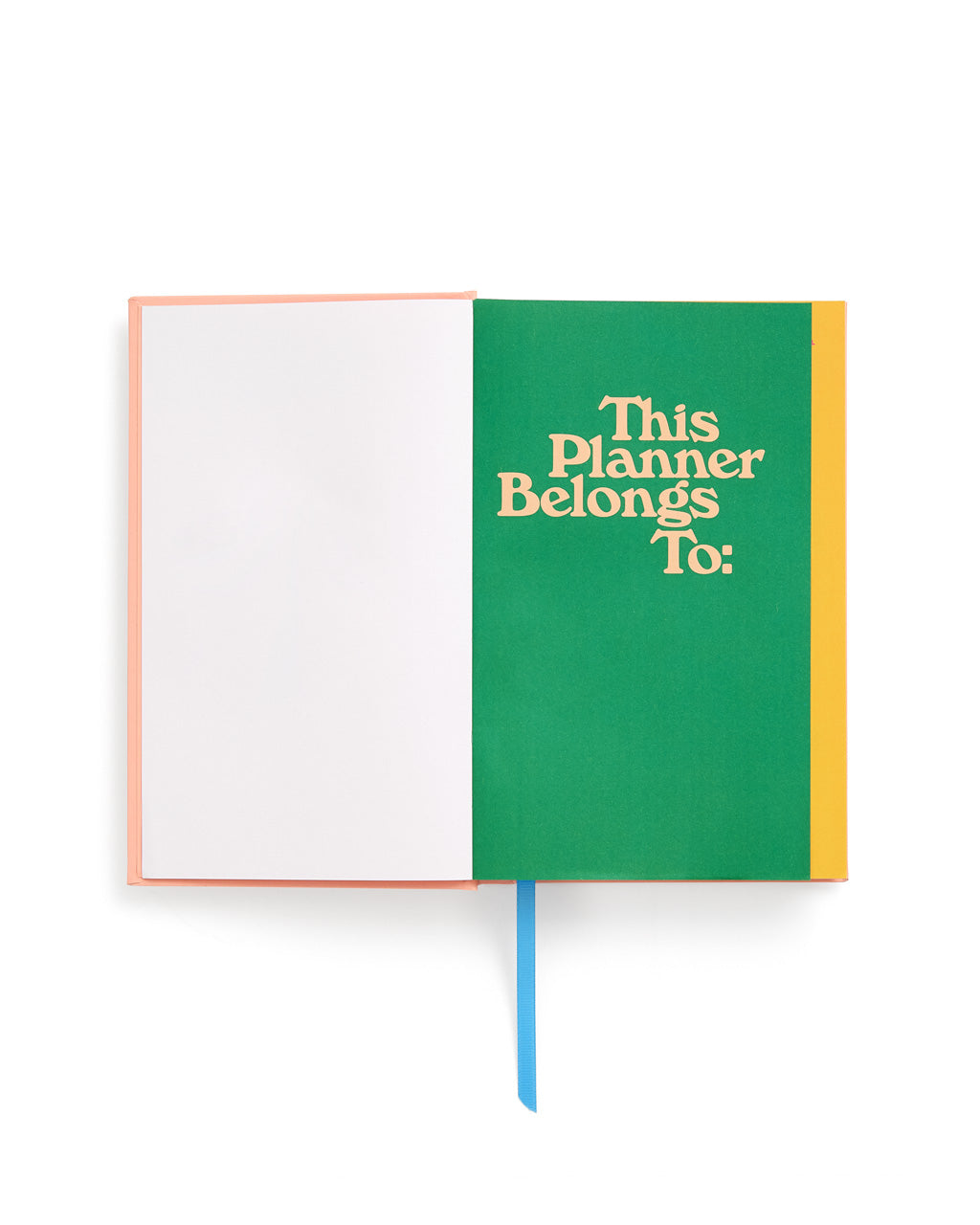 interior image of front end sheet featuring a this planner belongs to section