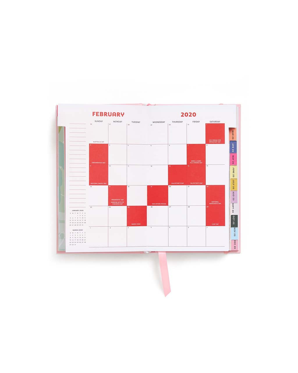 Each month has been assigned its own color that ties into artwork, to-dos, and compliments.