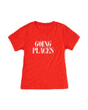 "flat view of a red short sleeved t-shirt with ""going places"" in uppercase red serif font"
