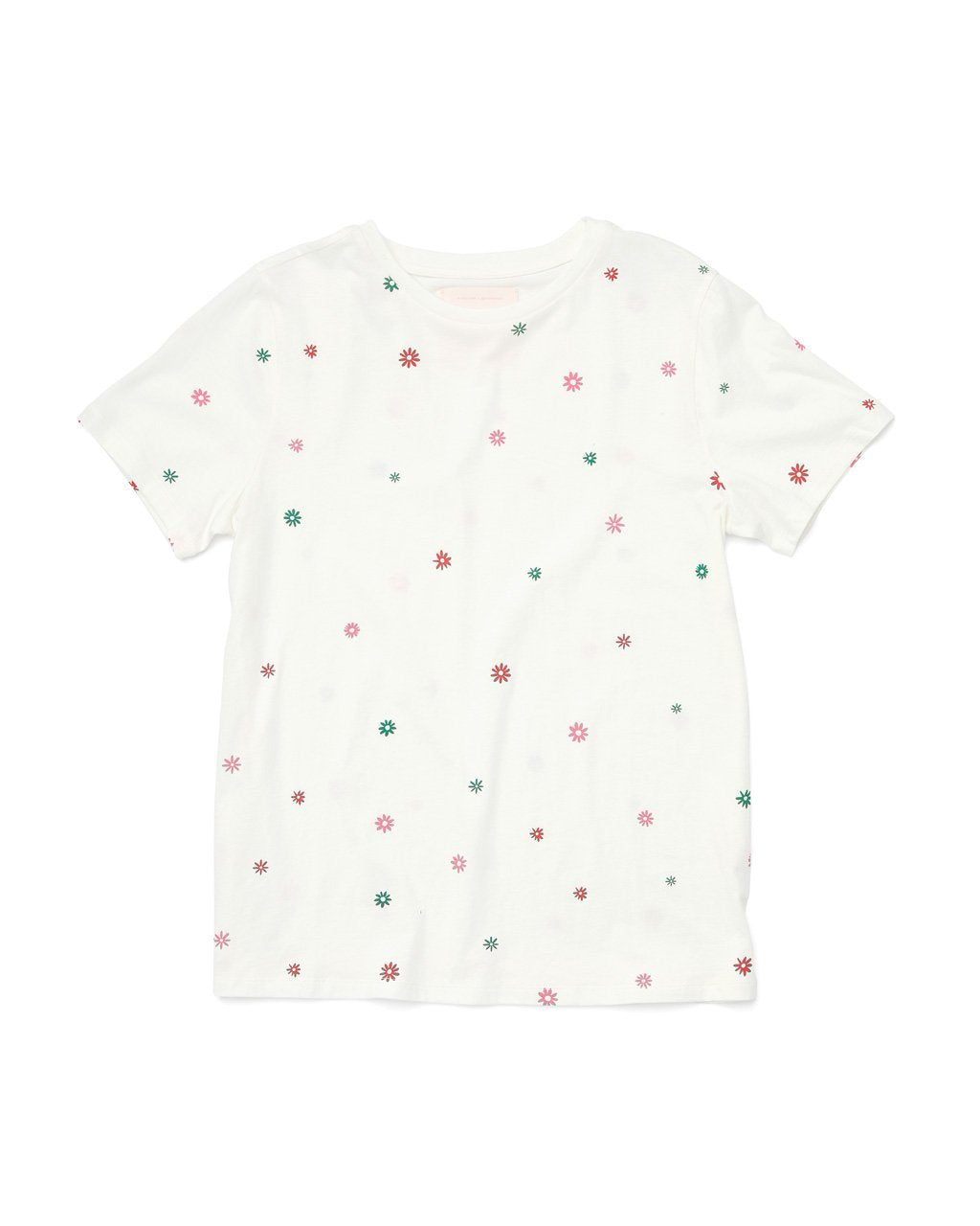 white cotton tee with a multi colored daisy pattern all over