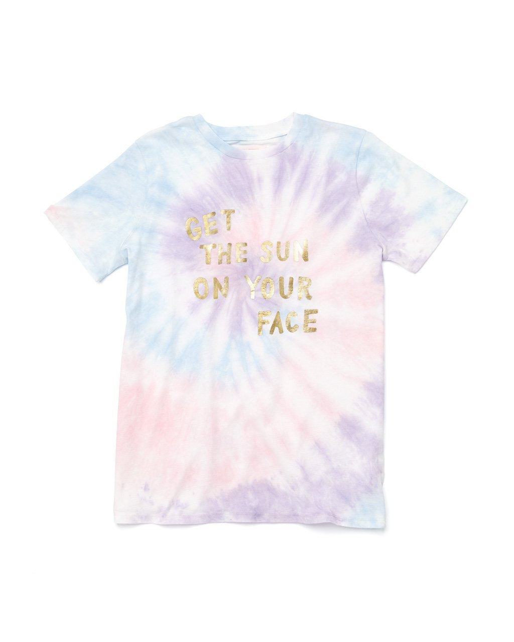 "tie dyed t-shirt with ""get the sun on your face"" printed in metallic foil"