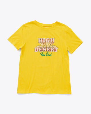 bright yellow tee with the words high desert fan club