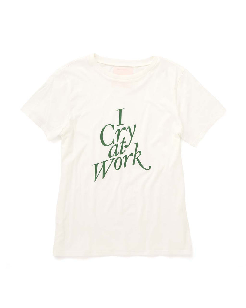 "White short sleeve tshirt with ""I cry at work"" graphic in the center."