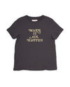 Vintage black short sleeve tshirt with Make It All Happen in gold foil letters.
