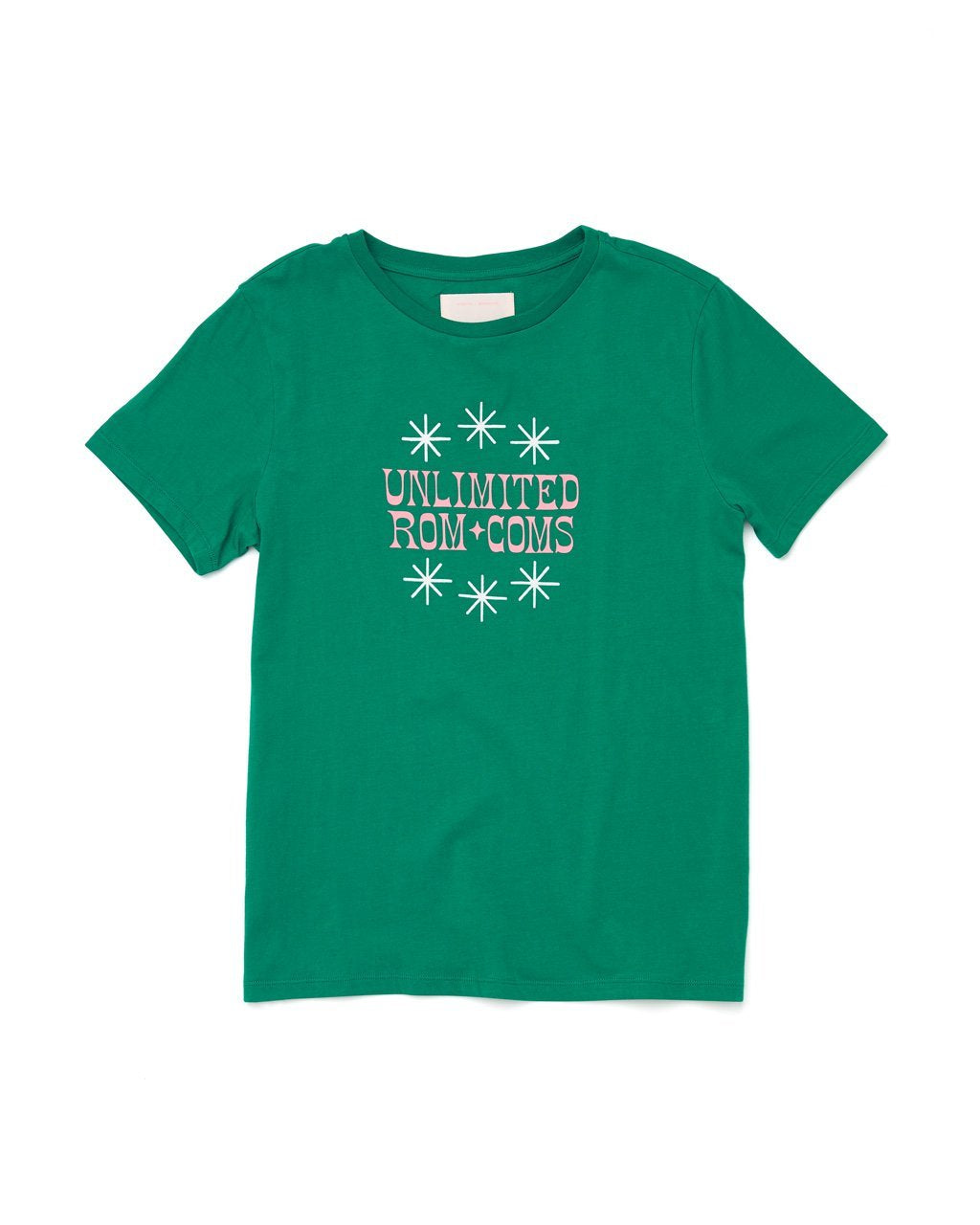 "flat view of a dark green short sleeved t-shirt with the words ""Unlimited Rom Coms"" in pink letters"