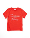 "flat view of red t-shirt with ""Weekends are Forever"" in metallic foil"