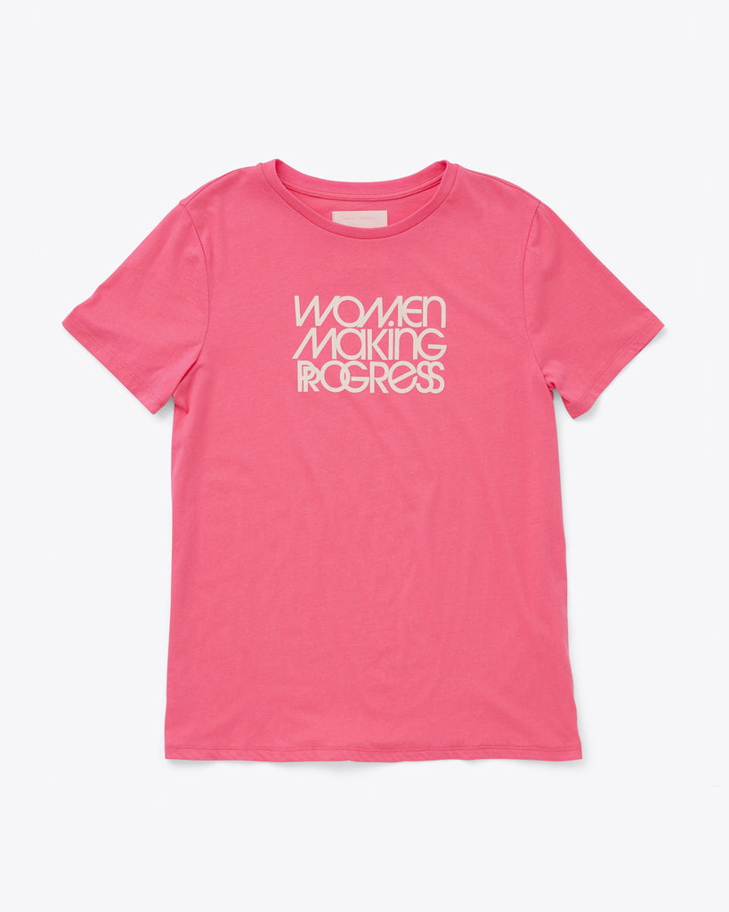 pink tee with the words women making progress