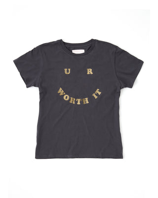 "dark gray t-shirt with ""U R WORTH IT"" in gold metallic letters"