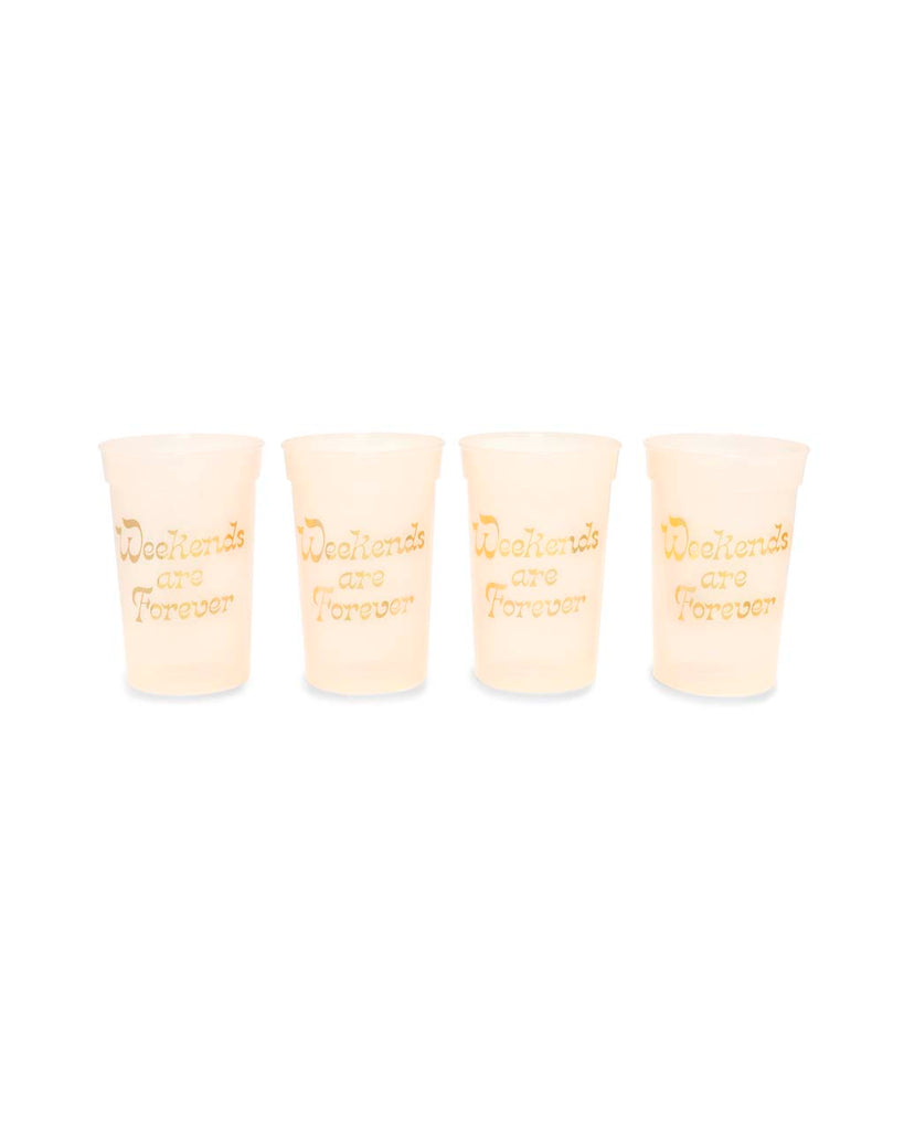 This party cup set comes in translucent white with metallic gold foil print on the side.