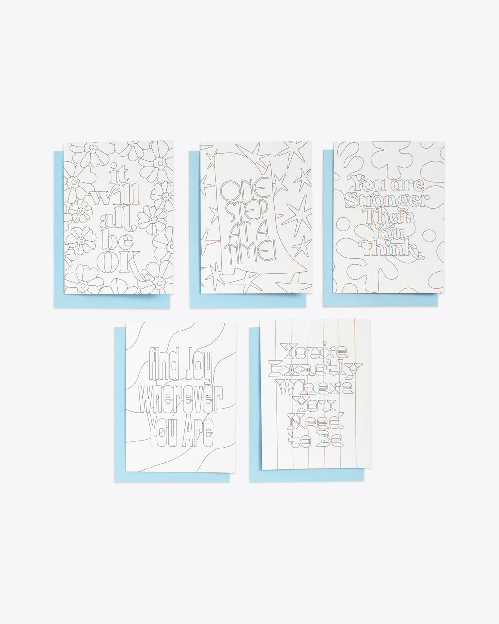 color in notecards set of 5 with blue envelopes