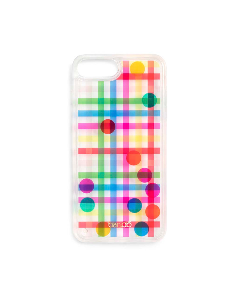 The Confetti Bomb iPhone Case comes in a rainbow plaid and floating confetti design.