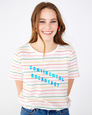 Colorful striped jersey tee with the words continental breakfast