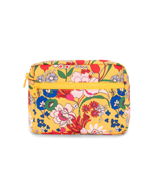 Yellow cosmetic bag with bright floral pattern all over