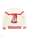 Intarsia knit cream sweater with boogie shoes.