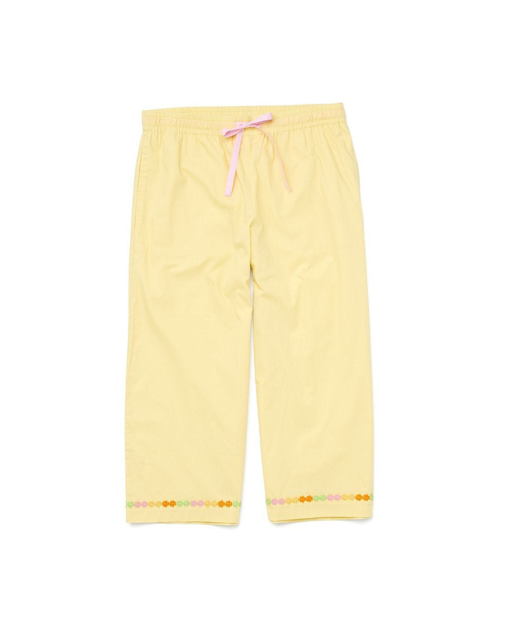 yellow cropped leisure pants with daisy chain accent at the bottom of the pant legs
