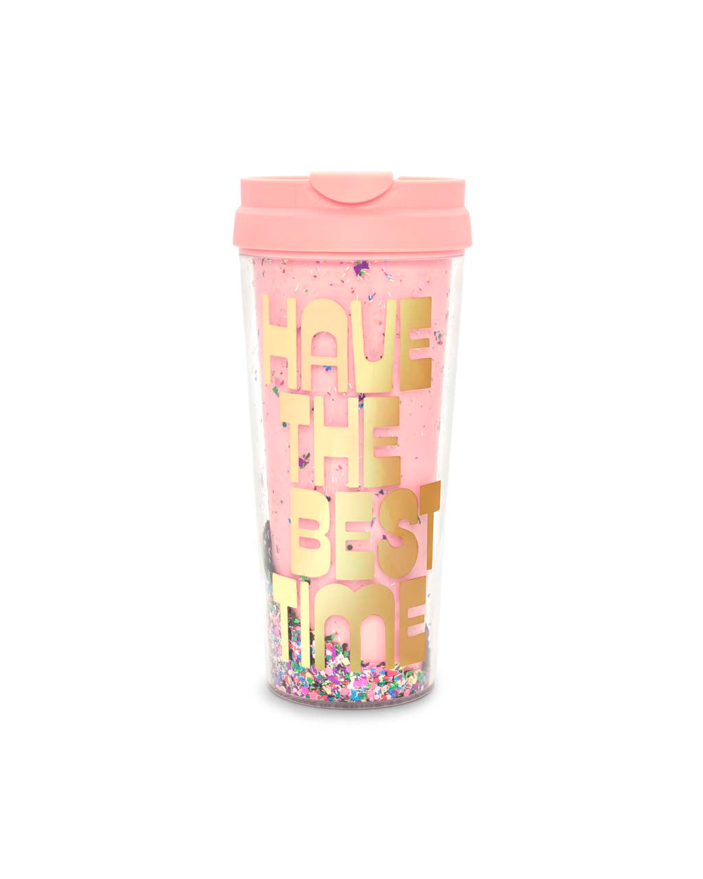 This mug comes in pink, with 'Have The Best Time' printed in gold on the side.