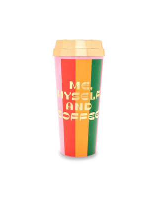Thermal with a rainbow stripe design and the words me, myself, and coffee