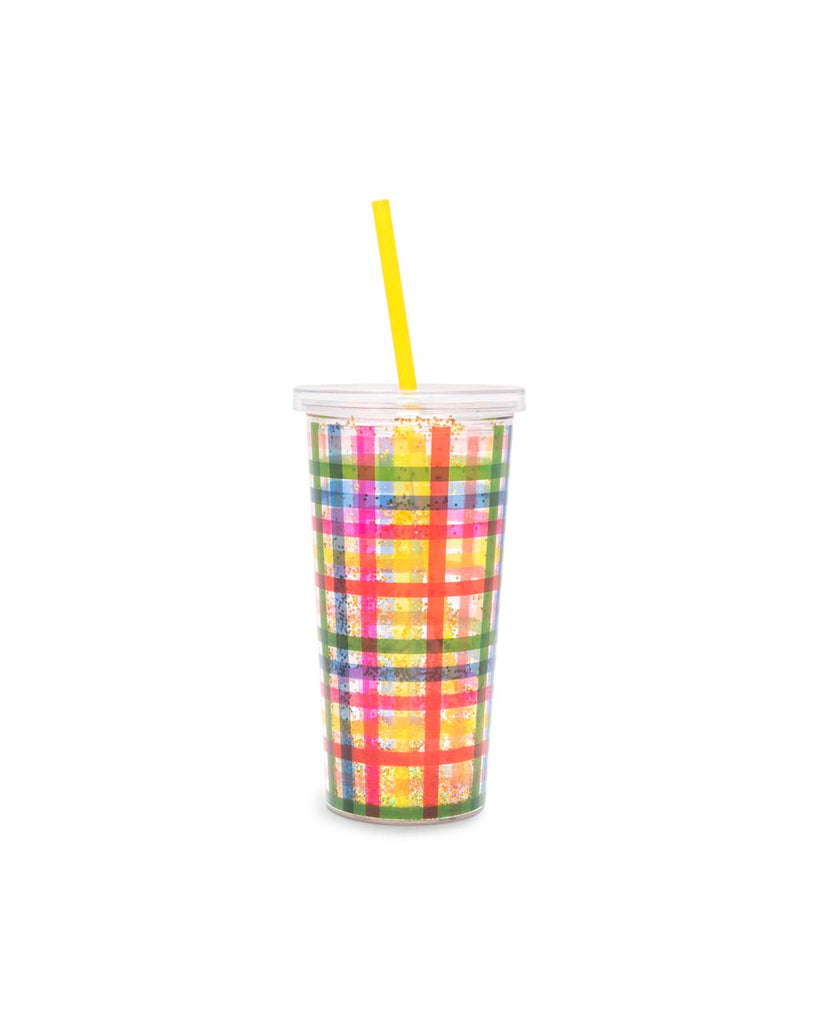 This tumbler is clear with a rainbow plaid pattern on the side.