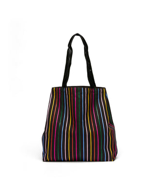Black tote bag with rainbow colored vertical stripes.