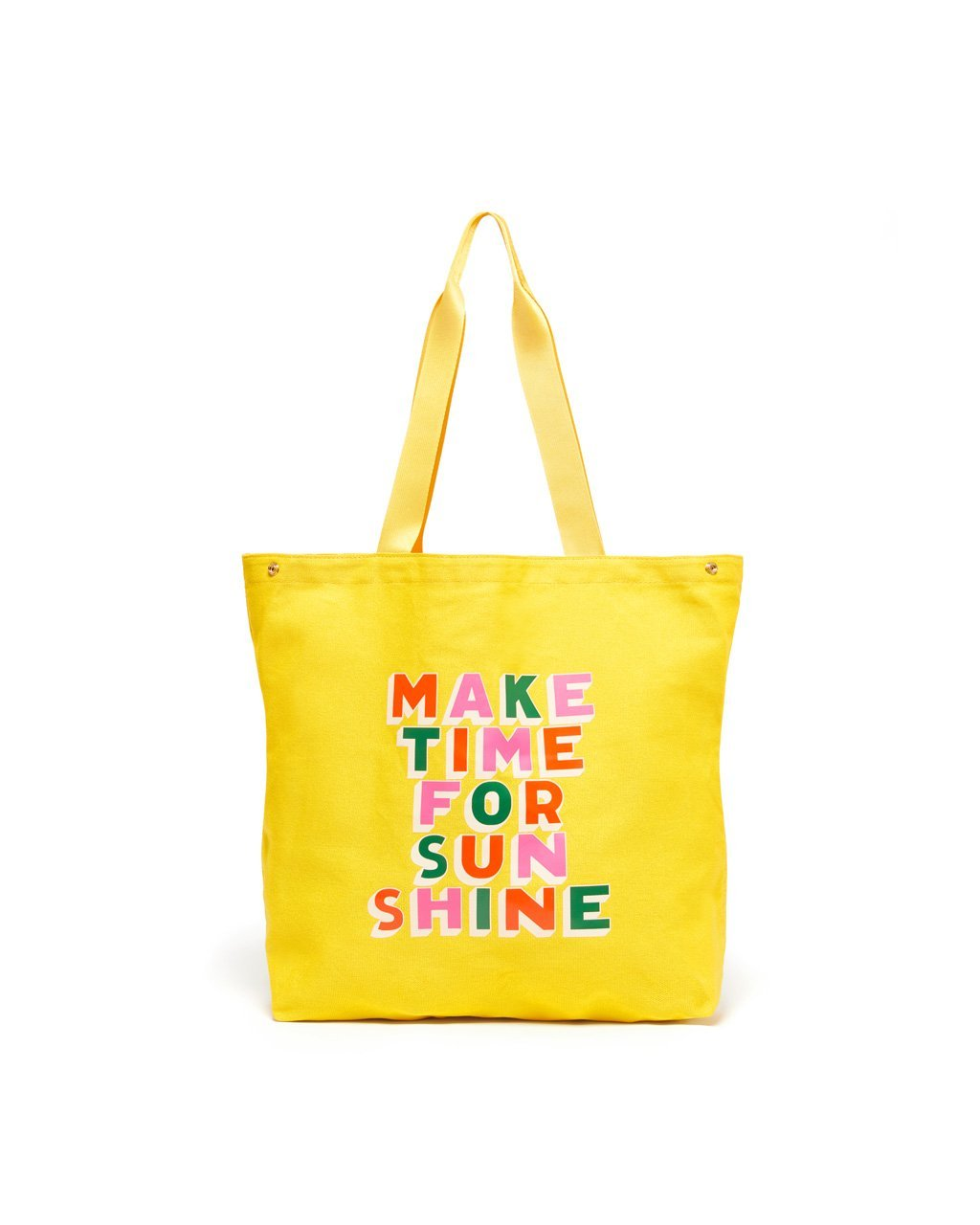Bright yellow tote with the quote make time for sunshine