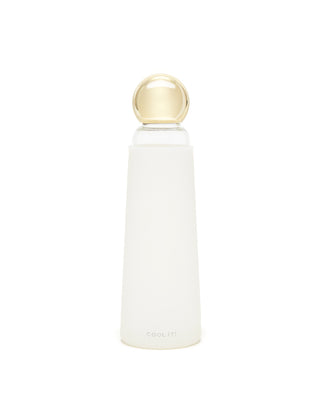 deluxe cool it! glass water bottle - white/metallic gold