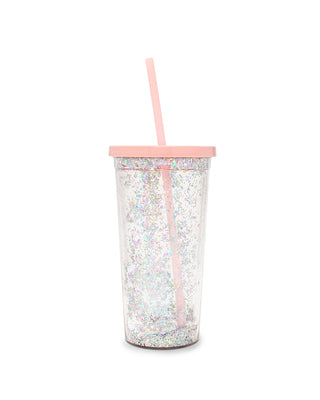 This tumbler is clear with a pink lid and straw.
