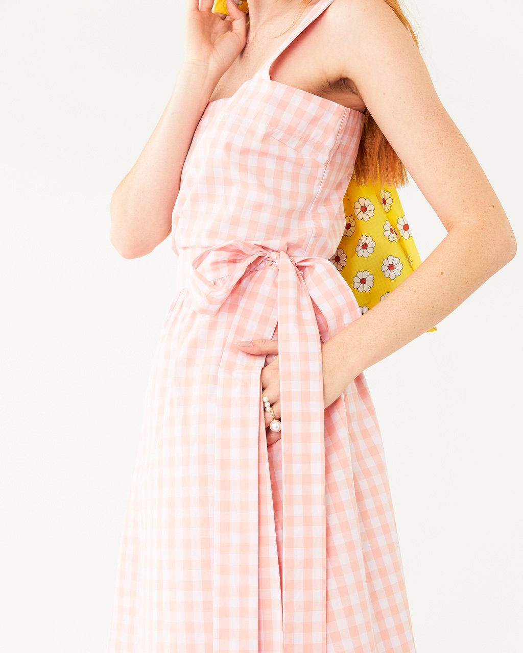 detailed image of pink and white picnic plaid skirt with matching tank featuring tie belt and side seam pockets