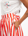 easy wrap tie red and ivory stripe skirt with side seam pockets