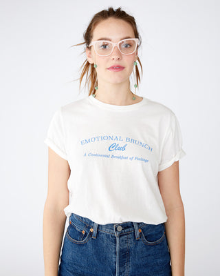 white tee with the words emotional brunch club