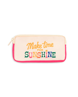 "Cream glasses case with the words ""make time for sunshine"""