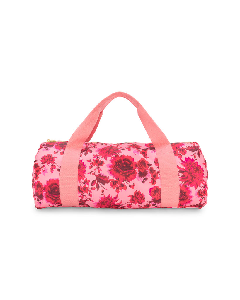 Gym bag with pink floral pattern.