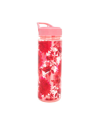 Clear water bottle with pink floral pattern and pink removable lid with straw.