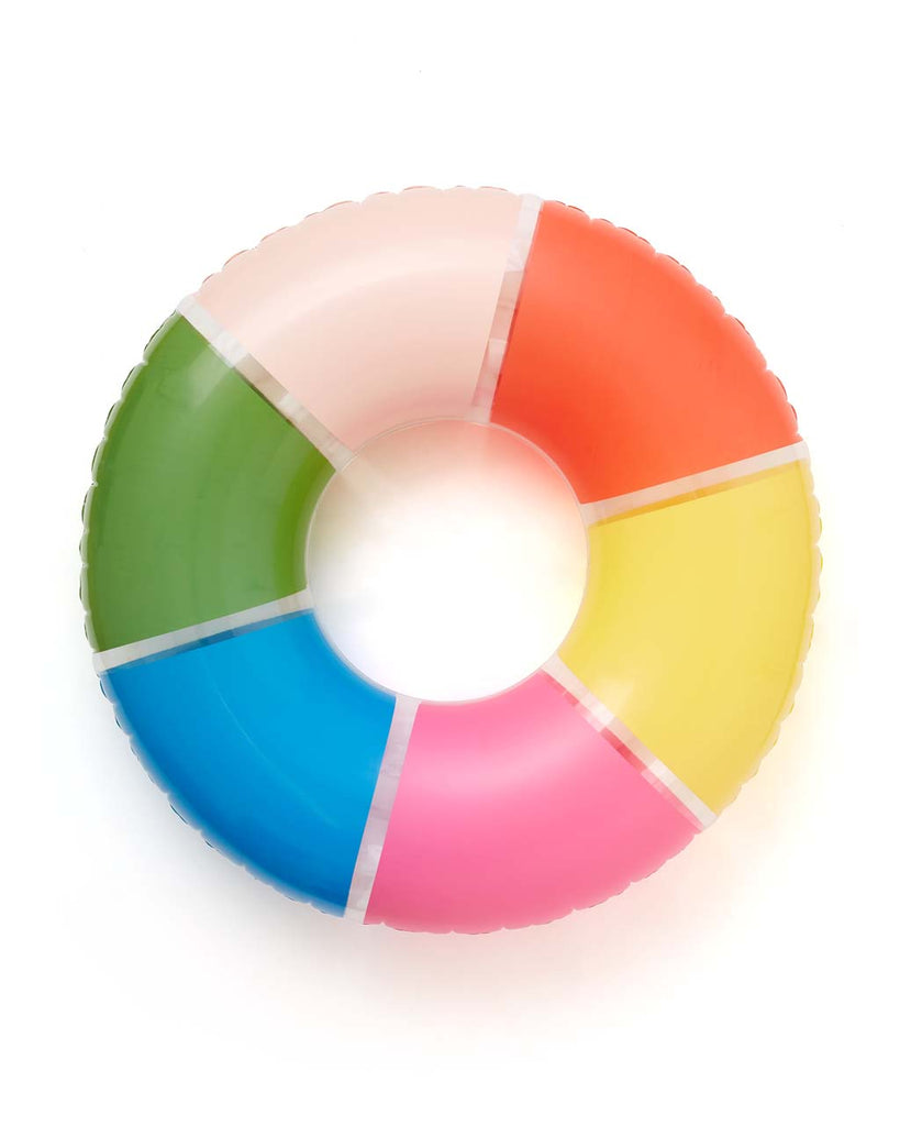 This Float On Giant Innertube comes in a colorful rainbow design.