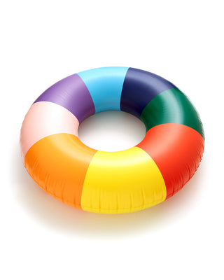 float on giant innertube - rainbow