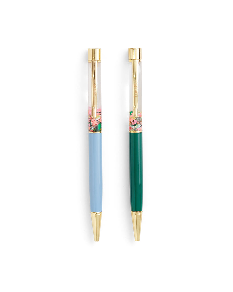 set of 2 glitter bomb pens with a floral design