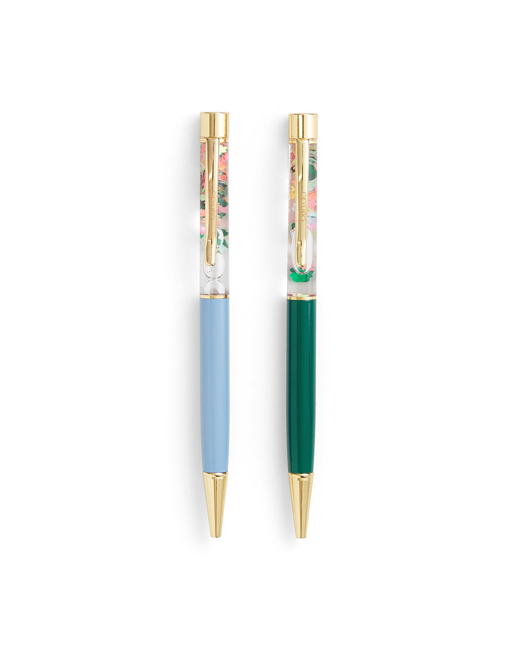 one green and one blue glitter bomb pen with a floral design
