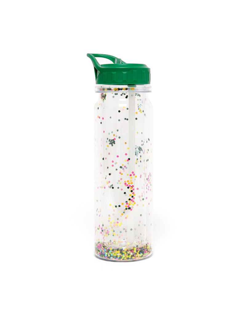 glitter bomb water bottle with a green lid and floral confetti