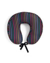 Black travel pillow with vertical rainbow stripes and a grosgrain tie.