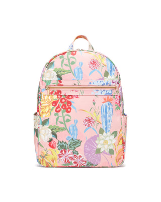 The Get It Together Garden Party Backpack comes in pink canvass, with a colorful floral pattern throughout.