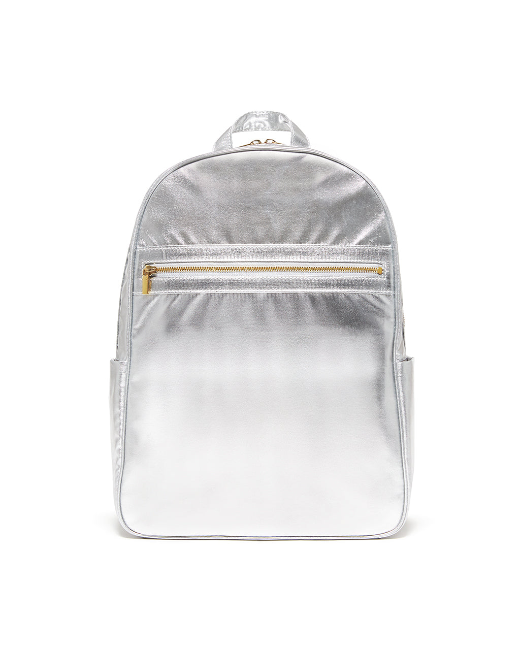 This Get It Together Backpack comes in a shiny metallic silver color.