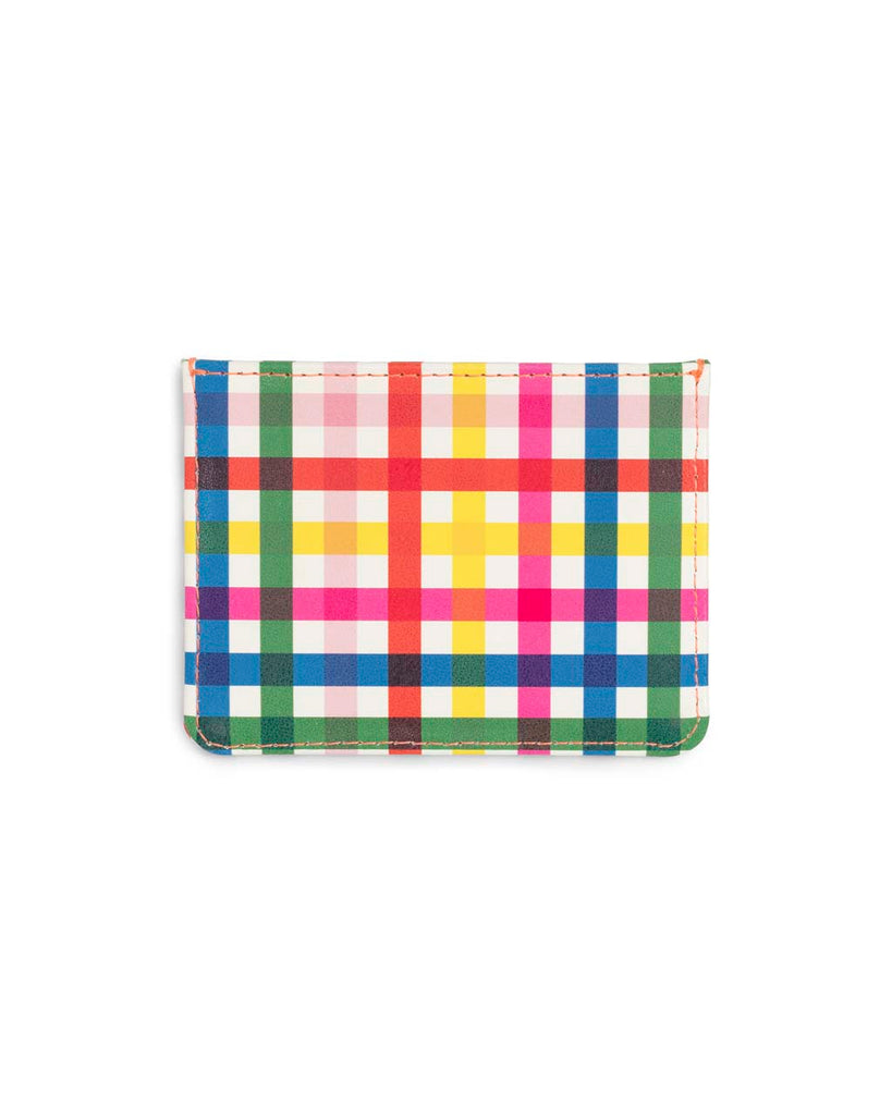 This Get It Together Card Case comes in a colorful rainbow plaid pattern.