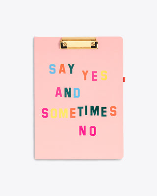 light pink clipboard folio with the words say yes and sometimes no on the cover