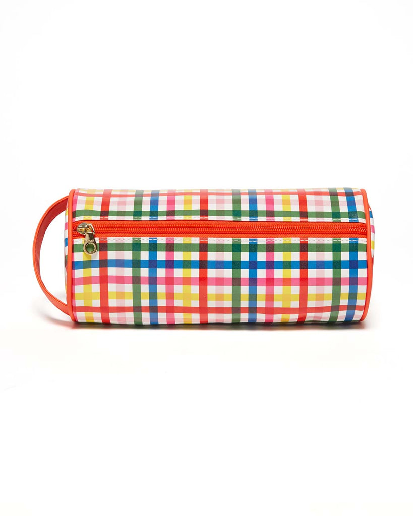 This Get It Together Cylinder Pouch comes in a colorful rainbow plaid pattern.