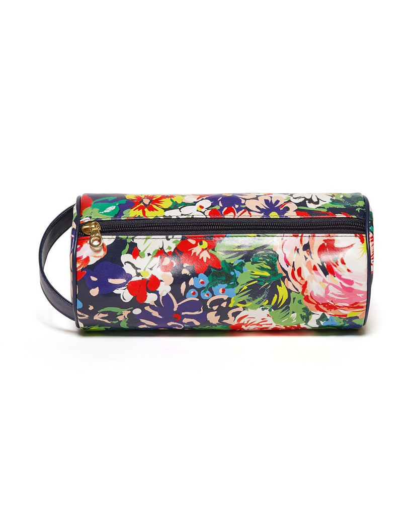 This Get It Together Cylinder Pouch comes in a colorful floral pattern.