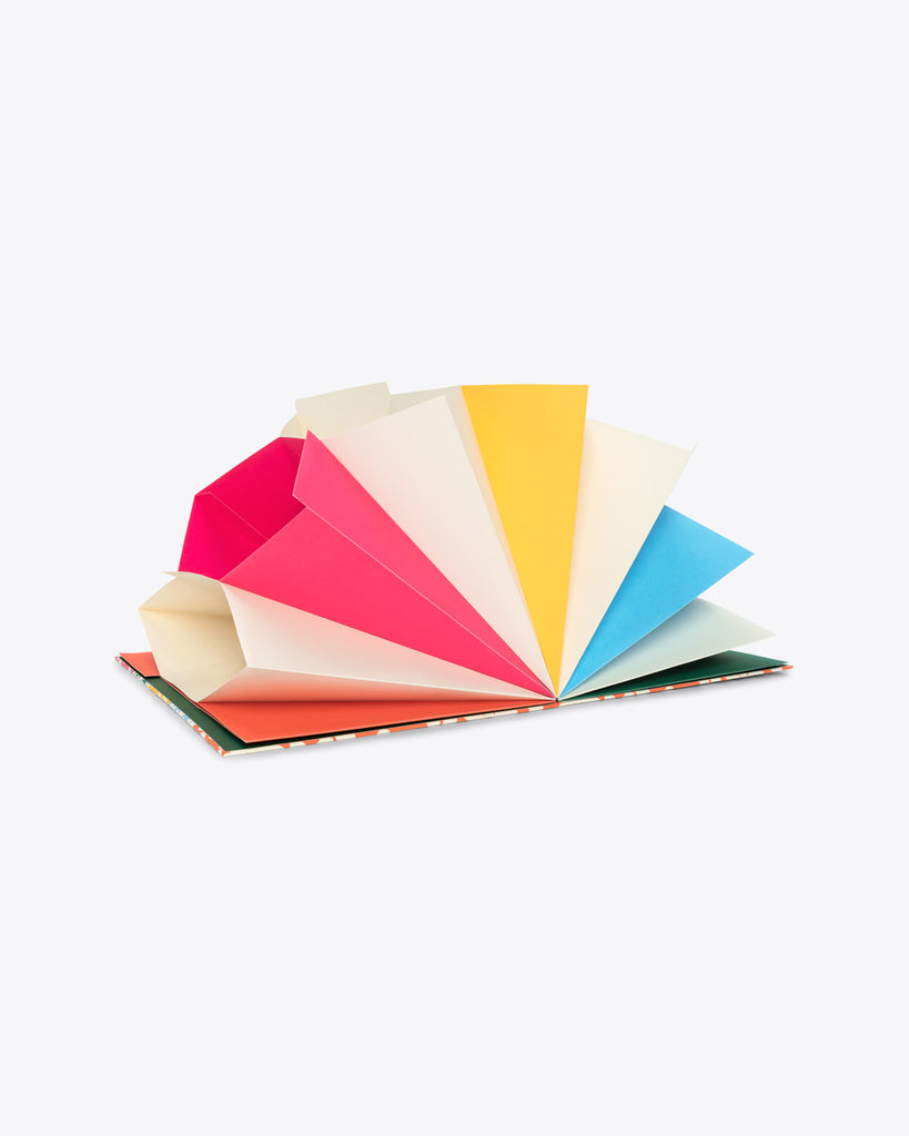 file folder open showing various colored pockets
