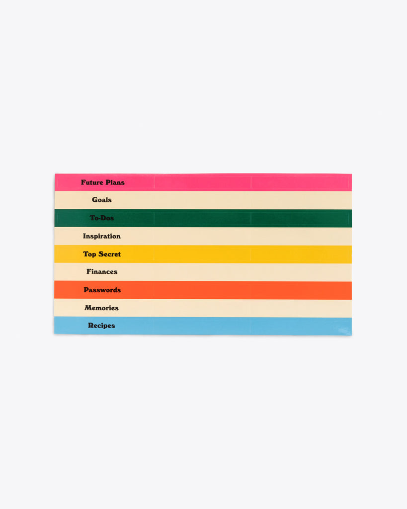 various colored labels included for folders