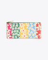 leatherette pencil pouch featuring a multi colored daisy pattern