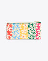 back image of leatherette pencil pouch with a multi colored daisy pattern, ban.do logo featured at the bottom