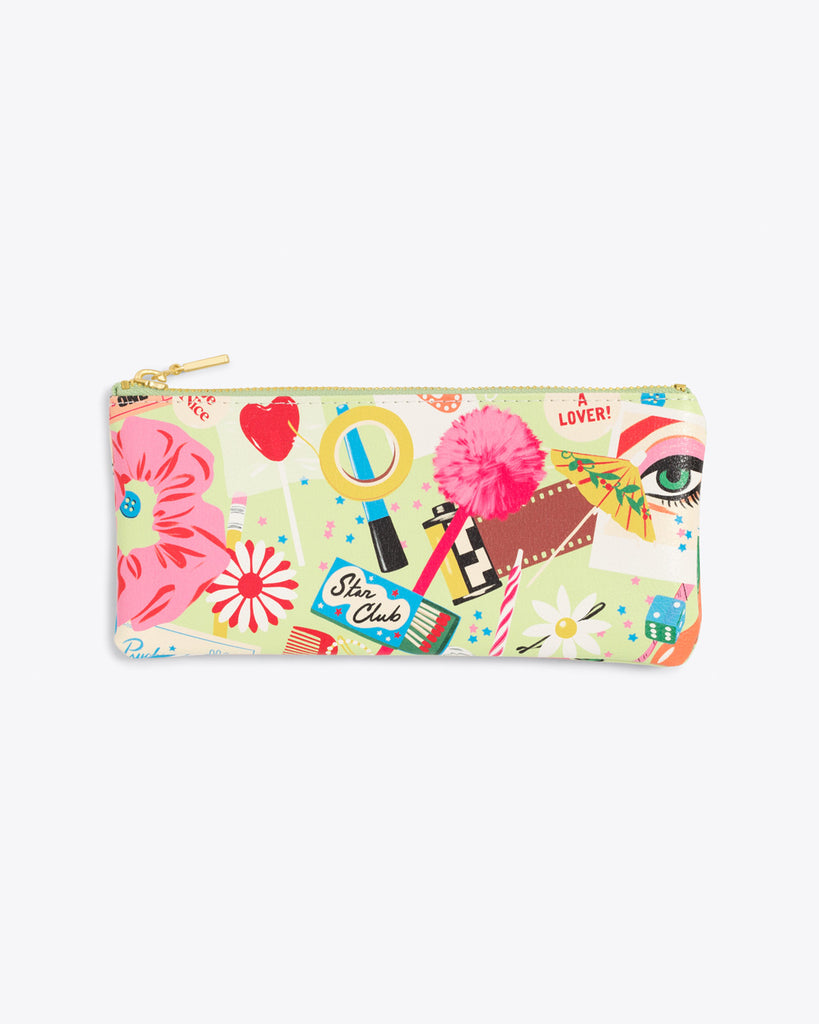 leatherette pencil pouch featuring a multi colored abstract design