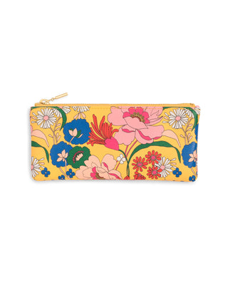 Yellow pencil pouch with bright floral pattern